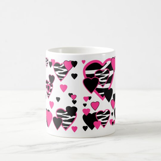 Hot Pink Zebra Animal Print Heart Abstract Girl Coffee Mug