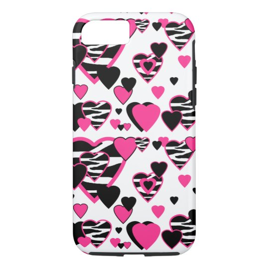 Hot Pink Zebra Animal Print Hearts Teen Girl iPhone 7 Case