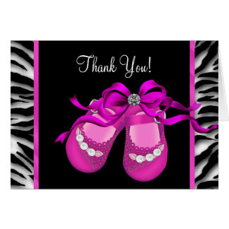 Hot Pink Zebra Baby Girl Thank You Card
