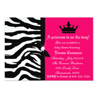 Hot Pink Zebra Baby Shower Card