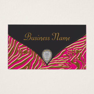 Hot Pink Zebra Business Card