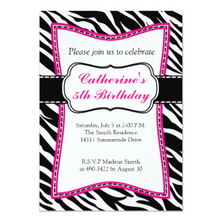 Hot Pink Zebra Child's Birthday Invitation. Card