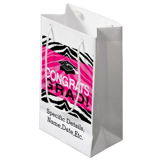 Hot Pink Zebra Congrats Girl's Graduation Party Small Gift Bag