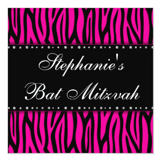Hot Pink Zebra Diamonds Bat Mitzvah Invitation
