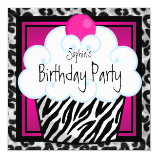 "Hot Pink Zebra Girls Cupcake Birthday Party 5.25"" Square Invitation Card"