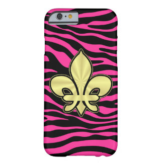 HOT PINK ZEBRA GOLD FLEUR DE LIS BARELY THERE iPhone 6 CASE