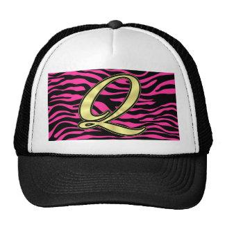 HOT PINK ZEBRA GOLD Q TRUCKER HAT