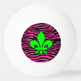 HOT PINK ZEBRA GREEN FLEUR DE LIS PING PONG BALL
