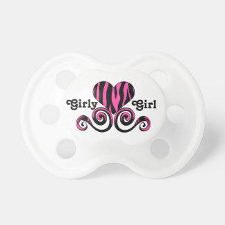 Hot pink zebra heart girly girl pacifier