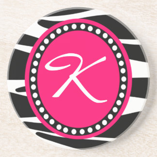 Hot Pink Zebra Monogrammed Initial (Sample) Coaster