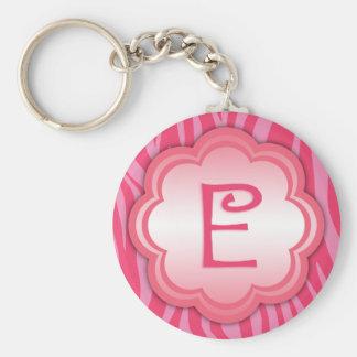 Hot Pink Zebra Print Monogram E Keychain