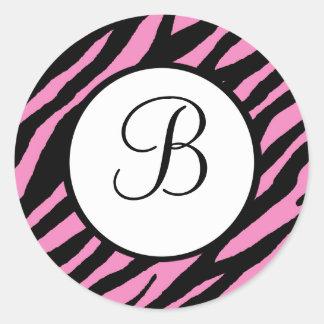Hot Pink Zebra Print Monogrammed Stickers