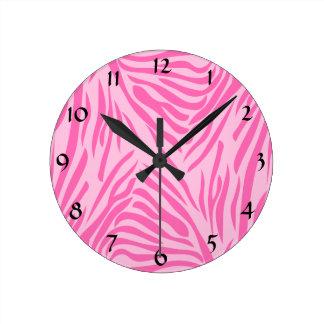 Hot Pink Zebra Print Round Clock