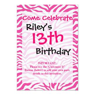 Hot Pink Zebra Print Wild Animal Stripes Novelty 5x7 Paper Invitation Card