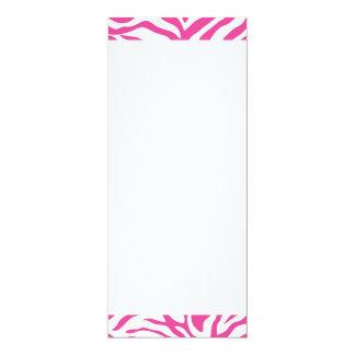 Hot Pink Zebra Print Wild Animal Stripes Novelty 4x9.25 Paper Invitation Card
