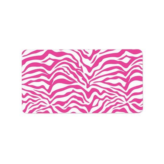 Hot Pink Zebra Print Wild Animal Stripes Novelty Label