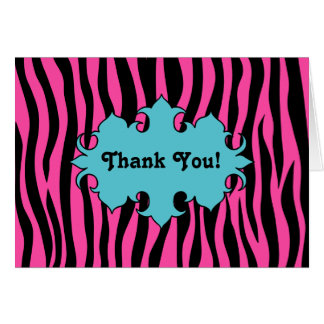 Hot pink zebra print with blue banner thank you note card
