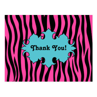 Hot pink zebra print with blue banner thank you postcard