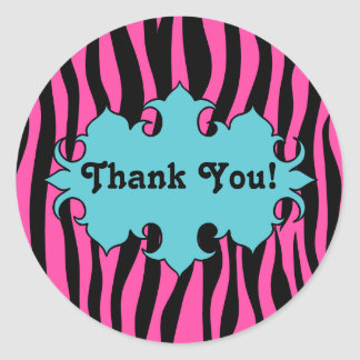 Hot pink zebra print with blue banner thank you round sticker