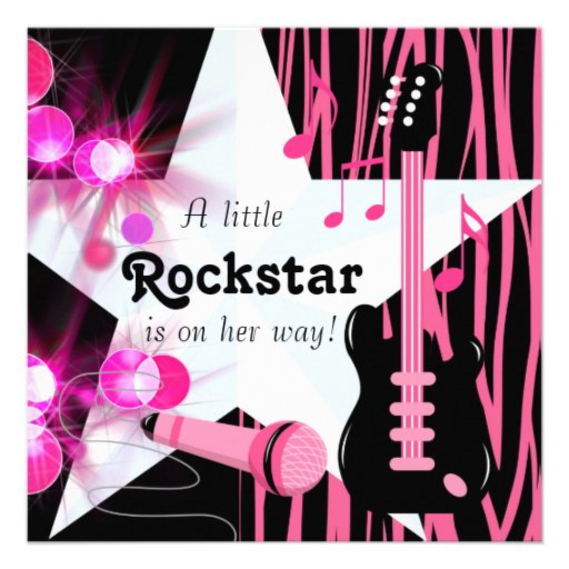 Hot Pink Zebra Rockstar Baby Girl Shower Zazzle