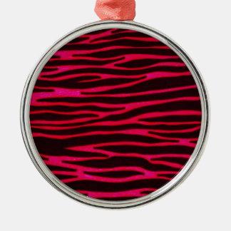 Hot Pink Zebra Stripe Print Silver-Colored Round Ornament