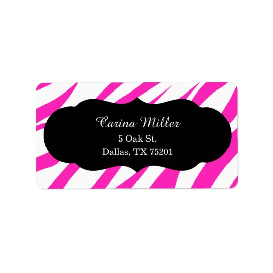 Hot Pink Zebra Striped Address Label