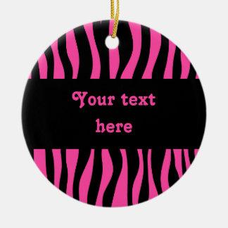 Hot pink zebra stripes add your text ceramic ornament