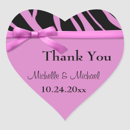 Hot Pink Zebra Stripes And Bow Thank You Sticker