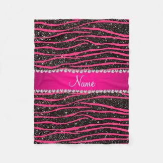 Hot pink zebra stripes black glitter pink stripe fleece blanket