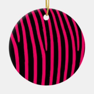 Hot Pink Zebra Stripes Round Ceramic Ornament