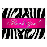 Hot Pink Zebra Thank You Card