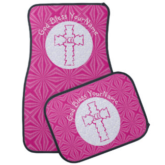Hot Pink Zig-Zag Christian Cross on Pink and White Floor Mat