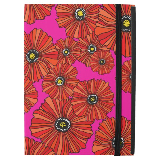Hot poppies pink and red floral iPad Pro 12.9 case