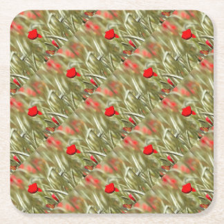 Hot Poppy Square Paper Coaster