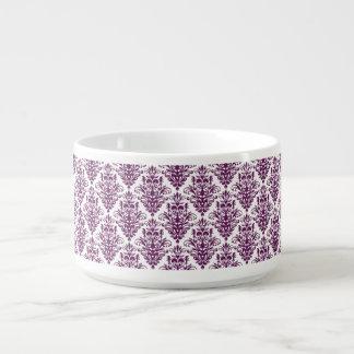 Hot Purple and White Elegant Damask Pattern Bowl