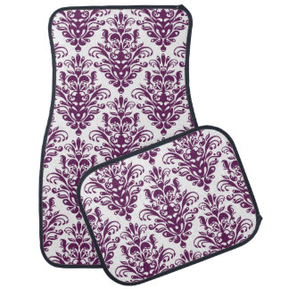 Hot Purple and White Elegant Damask Pattern Car Mat