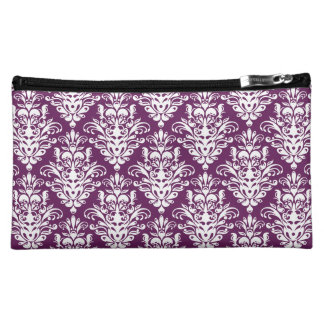 Hot Purple and White Elegant Damask Pattern Cosmetic Bag