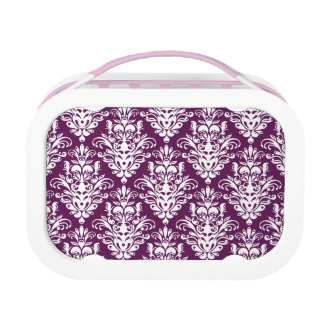 Hot Purple and White Elegant Damask Pattern Lunch Box