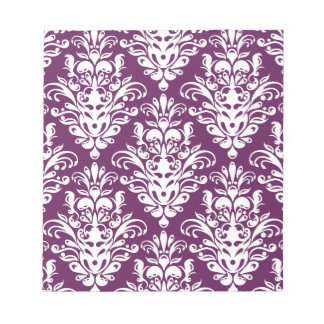 Hot Purple and White Elegant Damask Pattern Notepad