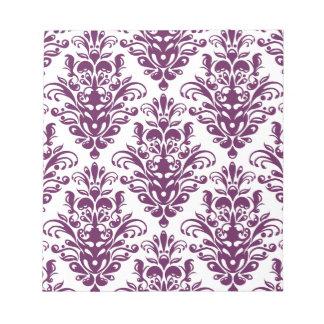 Hot Purple and White Elegant Damask Pattern Notepad