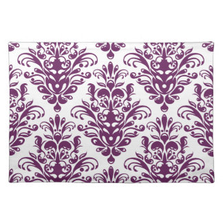 Hot Purple and White Elegant Damask Pattern Placemat