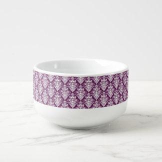 Hot Purple and White Elegant Damask Pattern Soup Mug