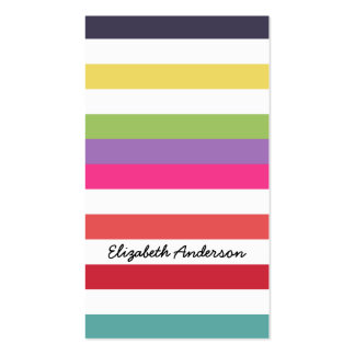 Hot Rainbow Stripes In Fall Fashion Colors Business Card Template