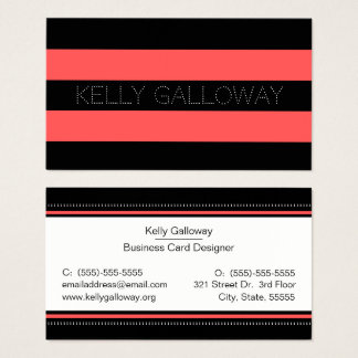 Hot Red & Black Bold Stripes Business Card
