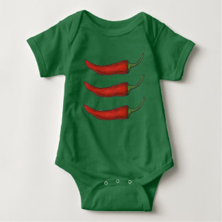 Hot Red Chili Chile Pepper Peppers Cooking Foodie Baby Bodysuit