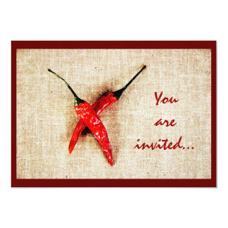 Hot red chili peppers barbeque invite