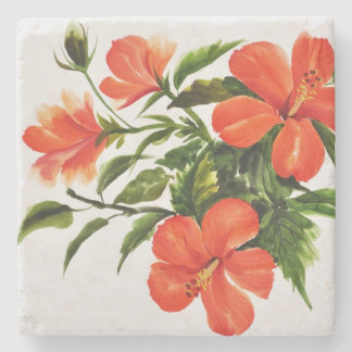 Hot Red Hibiscus Stone Coaster