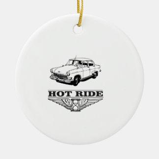 hot ride car round ceramic ornament