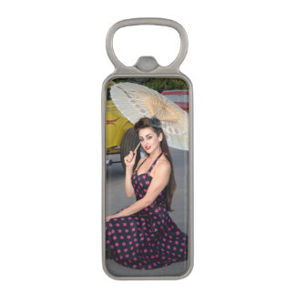 Hot Ride ZZ Rockabilly Hot Rod Pin Up Girl 2 Magnetic Bottle Opener