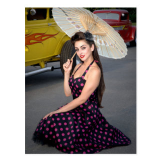 Hot Ride ZZ Rockabilly Hot Rod Pin Up Girl 2 Postcard
